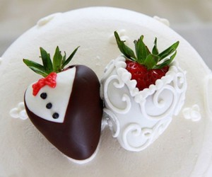strawberry, chocolate, and wedding image