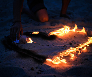 beach, fire, and love image