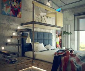 bedroom, industrial, and inspiration image