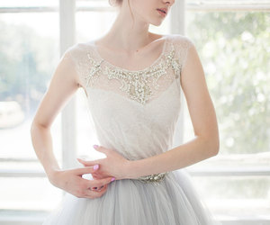 bridal gown, weddings, and lace wedding dress image