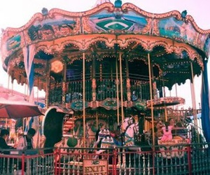 blue, carnival, and carousel image