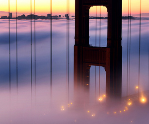 bridge, san francisco, and fog image