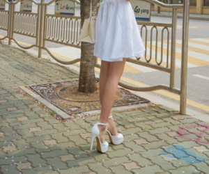 dress, high heels, and shoes image