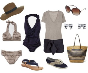 bathing suits, sandals, and summer image