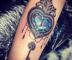 arm tattoo, color, and heart image