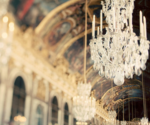 chandelier, paris, and hall of mirrors image