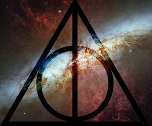 harry potter, deathly hallows, and galaxy image