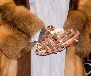 rihanna, fur, and tattoo image