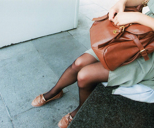 bag, brown, and dress image