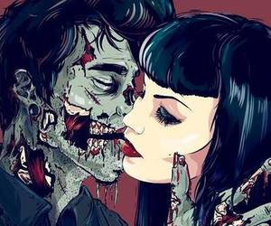 zombie, love, and kiss image
