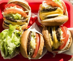food, burger, and friends image