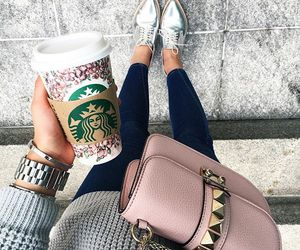style, fashion, and starbucks image