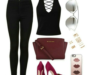 black, heels, and outfit image