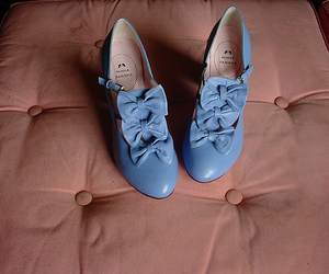 shoes, blue, and bow image