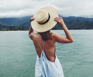 summer, ocean, and hat image