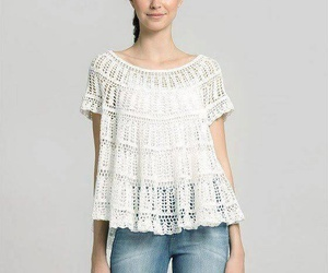 blouse, crochet, and fashion image