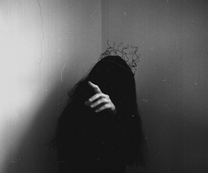 black and white, loneliness, and dark image