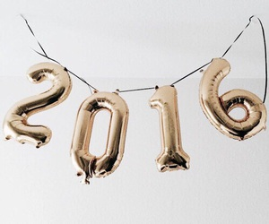 2016, gold, and balloons image