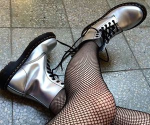dr. martens, holographic, and pale skin image