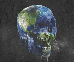 skull, earth, and world image