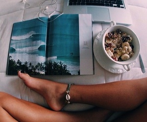 beach, book, and bowl image