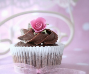 cupcake, flower, and pink image