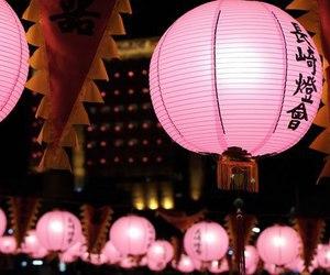 lantern, pink, and japan image