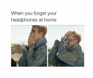 funny, justin bieber, and headphones image