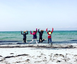beach, water, and friends image