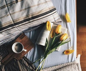 flowers, bed, and coffee image