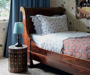 bed, bedroom, and chic image