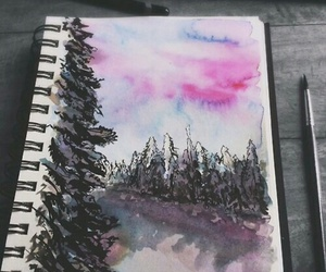 art, watercolor, and forest image