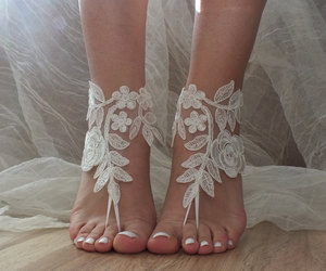 country wedding, etsy, and lace sandals image