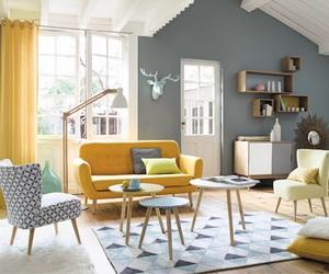 yellow, grey, and interior image