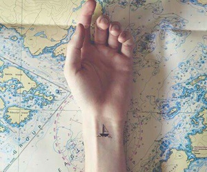 tattoo, boat, and map image