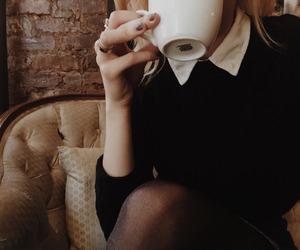 black, shirt, and cafe image