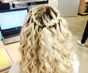 braid, hair, and waterfall image