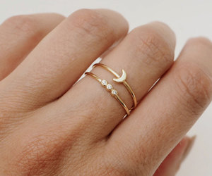 ring, gold, and moon image