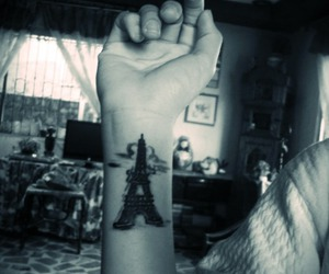 black and white, eiffel tower, and henna image
