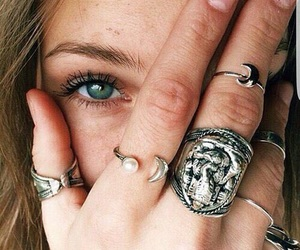 girl, rings, and eyes image