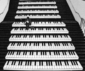 alone, black and white, and piano image