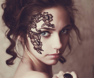 girl, lace, and black image
