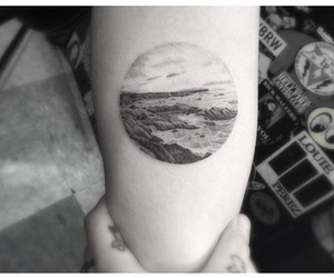 arm tattoo, beach tattoo, and circle tattoo image