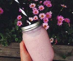 pink, flowers, and drink image
