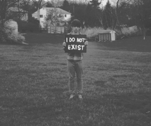 boy, black and white, and exist image