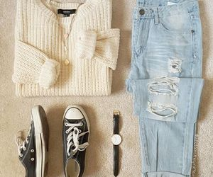 converse, ripped jeans, and fashion image