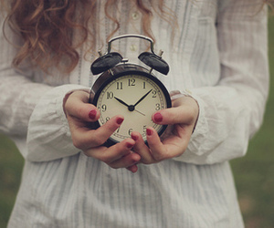 clock, girl, and photography image