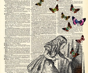 alice in wonderland, black&white, and butterflies image