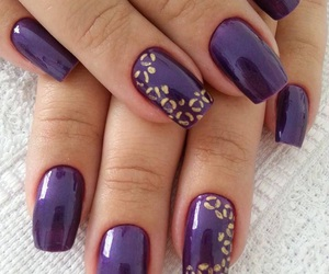 dark purple, gold, and manicure image