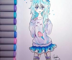 anime, blue, and chibi image